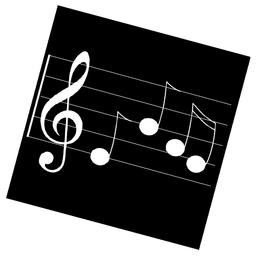 Image of music note on a treble clef music staff