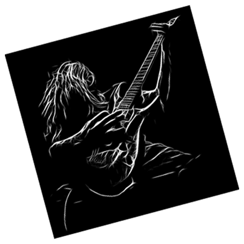 Silhouette of a man playing guitar