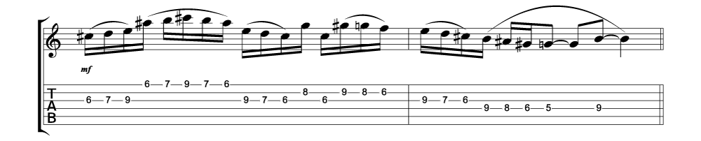 Tablature for lick 1 of 11 outside jazz fusion licks