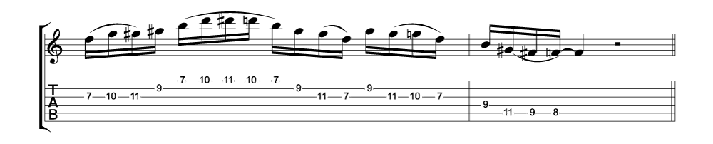 Tablature for lick 2 of 11 outside jazz fusion licks