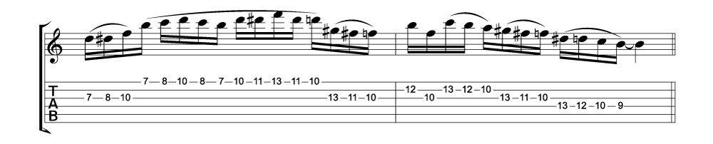 Tablature for lick 4 of 11 outside jazz fusion licks