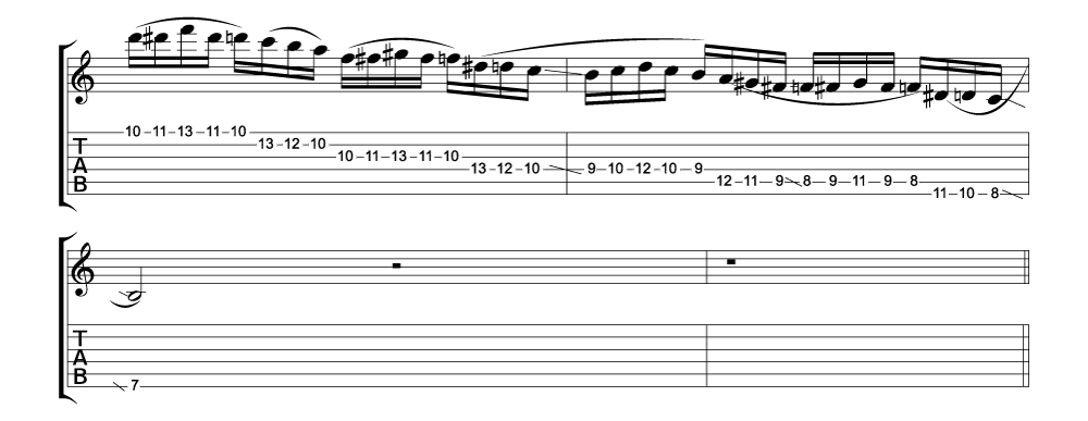 Tablature for lick 5 of 11 outside jazz fusion licks