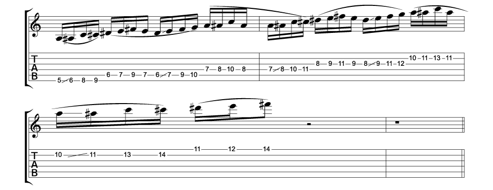 Tablature for lick 6 of 11 outside jazz fusion licks