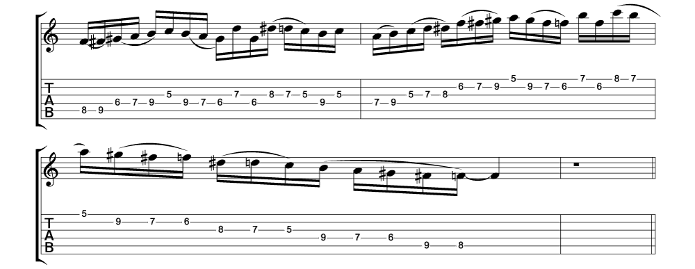 Tablature for lick 7 of 11 outside jazz fusion licks