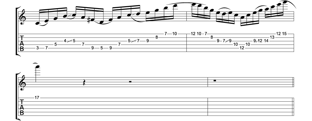 Tablature for lick 11 of 11 outside jazz fusion licks